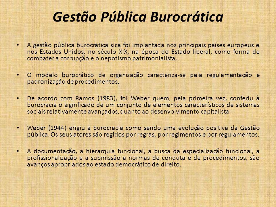 Gestão Pública Burocrática A gestão pública burocrática sica foi implantada nos principais países europeus e nos Estados Unidos, no século XIX, na épo