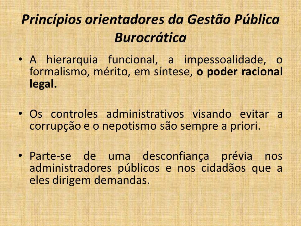 Princípios orientadores da Gestão Pública Burocrática A hierarquia funcional, a impessoalidade, o formalismo, mérito, em síntese, o poder racional leg