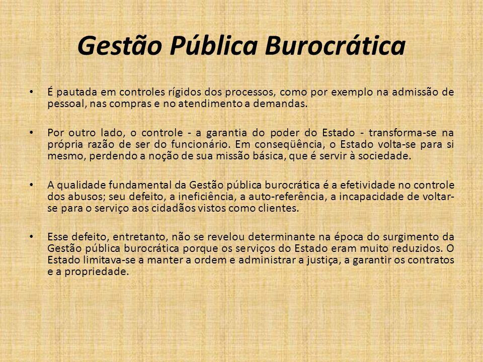 Gestão Pública Burocrática É pautada em controles rígidos dos processos, como por exemplo na admissão de pessoal, nas compras e no atendimento a deman