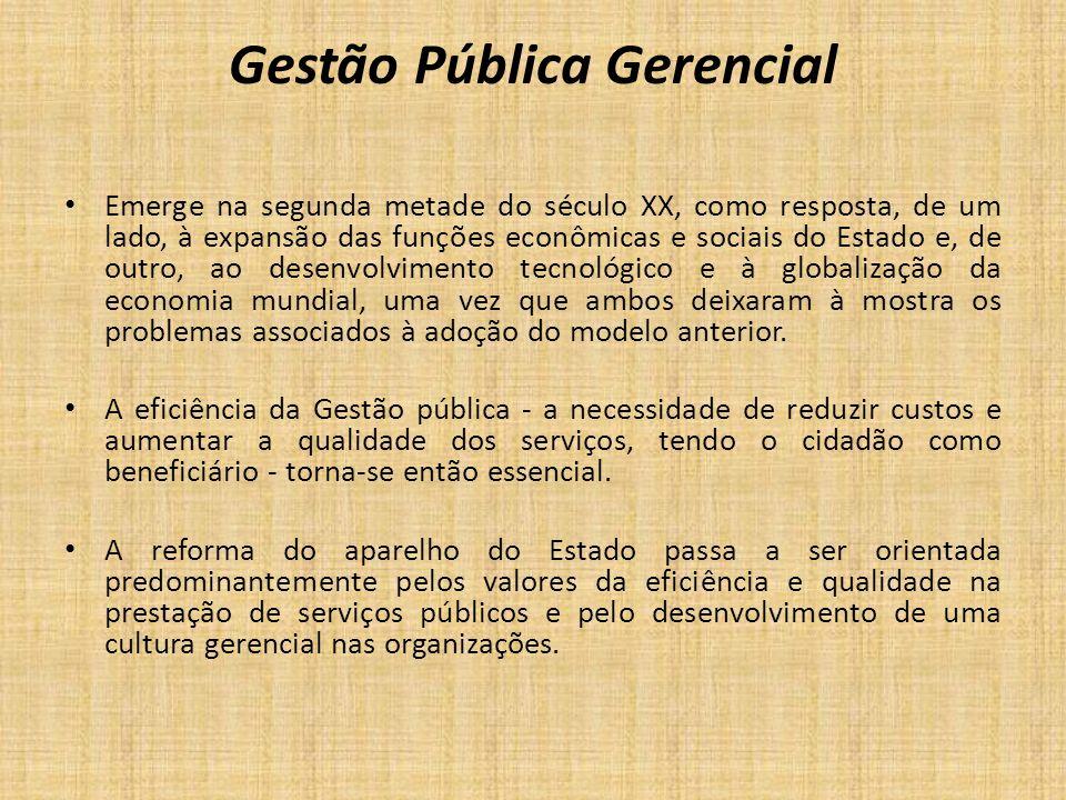 Gestão Pública Gerencial Emerge na segunda metade do século XX, como resposta, de um lado, à expansão das funções econômicas e sociais do Estado e, de