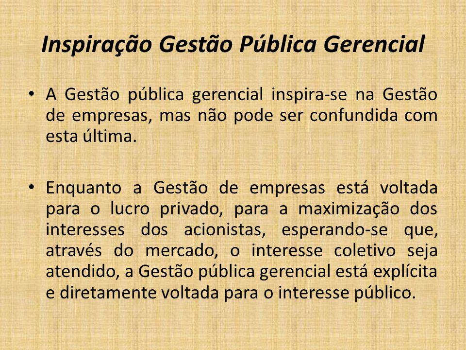 Inspiração Gestão Pública Gerencial A Gestão pública gerencial inspira-se na Gestão de empresas, mas não pode ser confundida com esta última. Enquanto