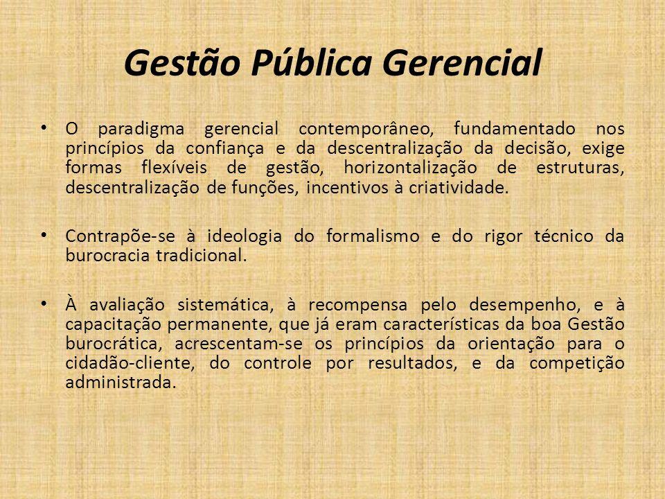Gestão Pública Gerencial O paradigma gerencial contemporâneo, fundamentado nos princípios da confiança e da descentralização da decisão, exige formas