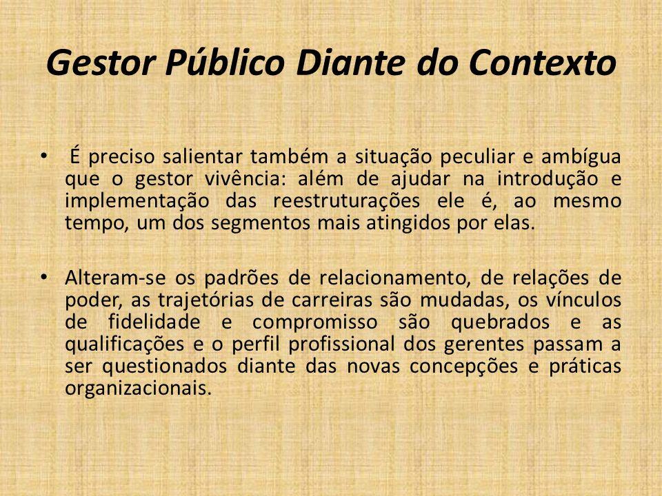 Gestor Público Diante do Contexto É preciso salientar também a situação peculiar e ambígua que o gestor vivência: além de ajudar na introdução e imple