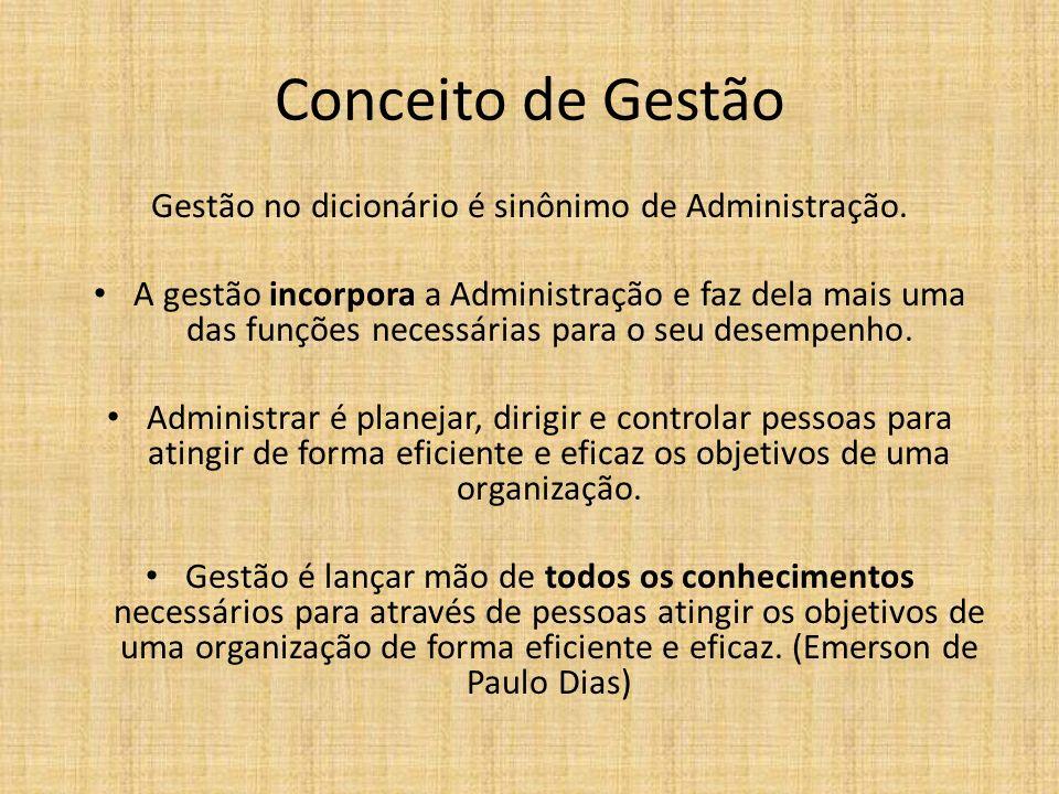 Gestão no dicionário é sinônimo de Administração. A gestão incorpora a Administração e faz dela mais uma das funções necessárias para o seu desempenho