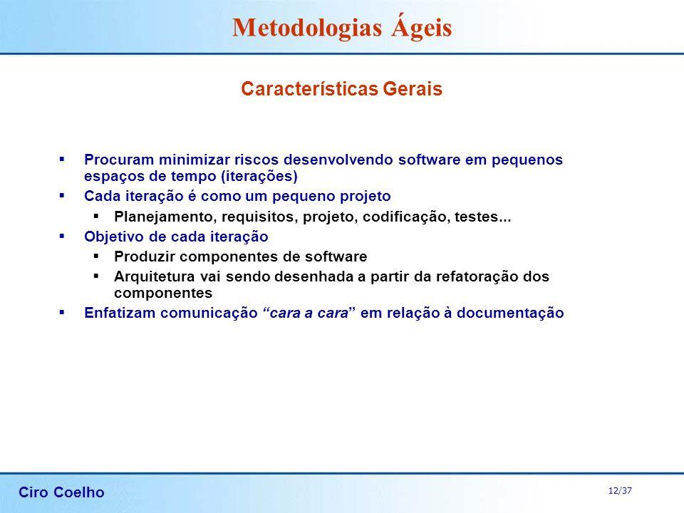 Ciro Coelho 12/37 Metodologias Ágeis Características Gerais Procuram minimizar riscos desenvolvendo software em pequenos espaços de tempo (iterações)