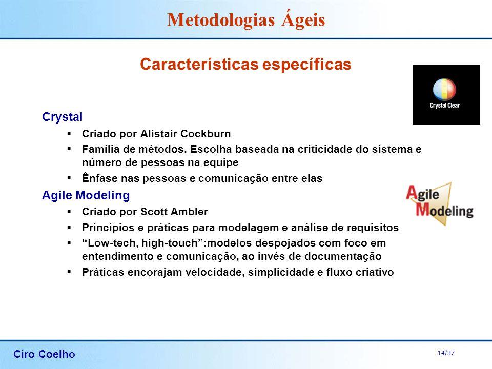 Ciro Coelho 14/37 Metodologias Ágeis Características específicas Crystal Criado por Alistair Cockburn Família de métodos. Escolha baseada na criticida