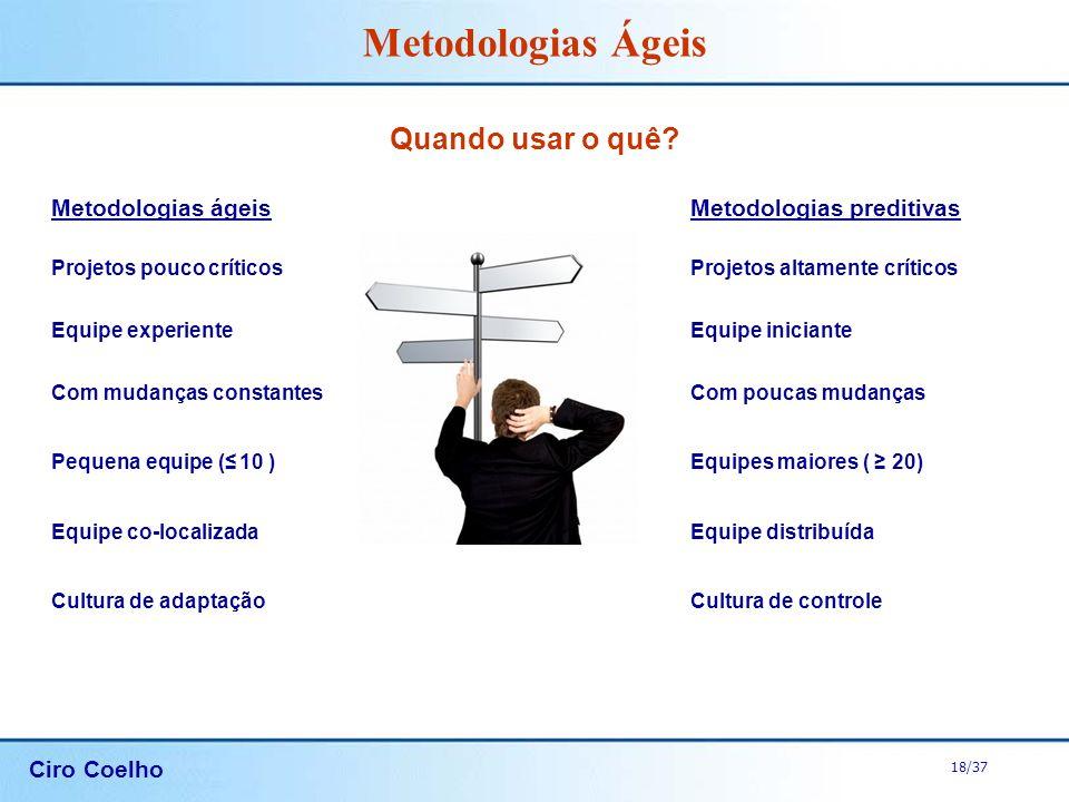 Ciro Coelho 18/37 Metodologias Ágeis Quando usar o quê? Metodologias ágeisMetodologias preditivas Projetos pouco críticosProjetos altamente críticos E