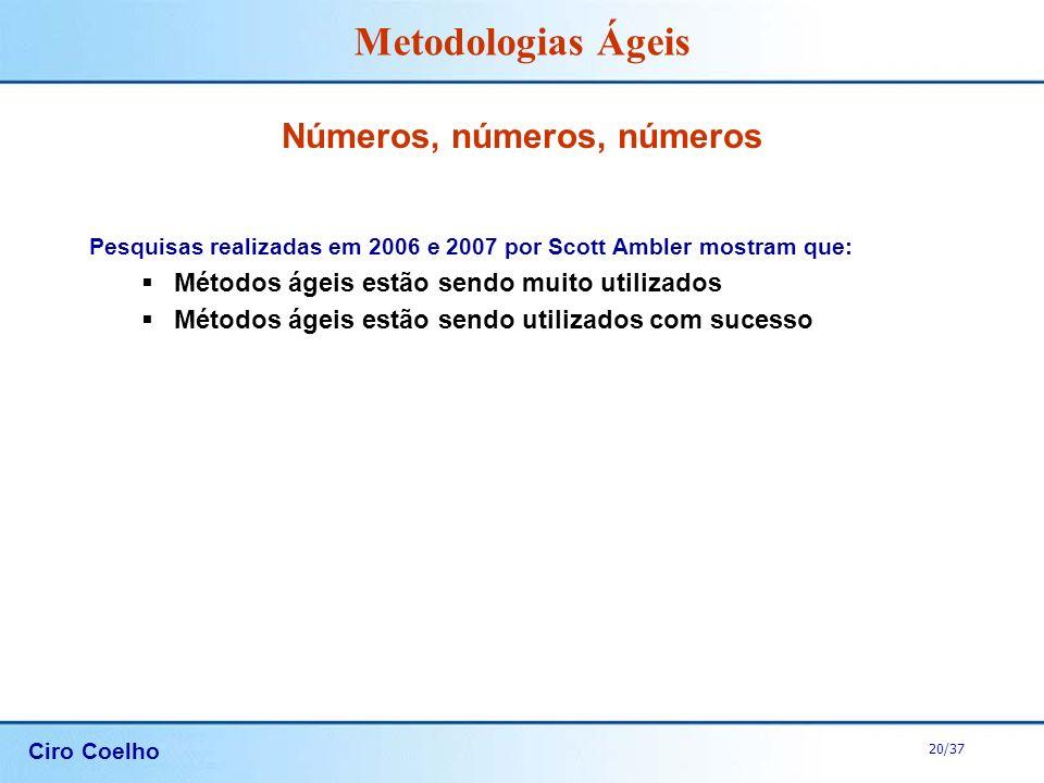 Ciro Coelho 20/37 Metodologias Ágeis Números, números, números Pesquisas realizadas em 2006 e 2007 por Scott Ambler mostram que: Métodos ágeis estão s
