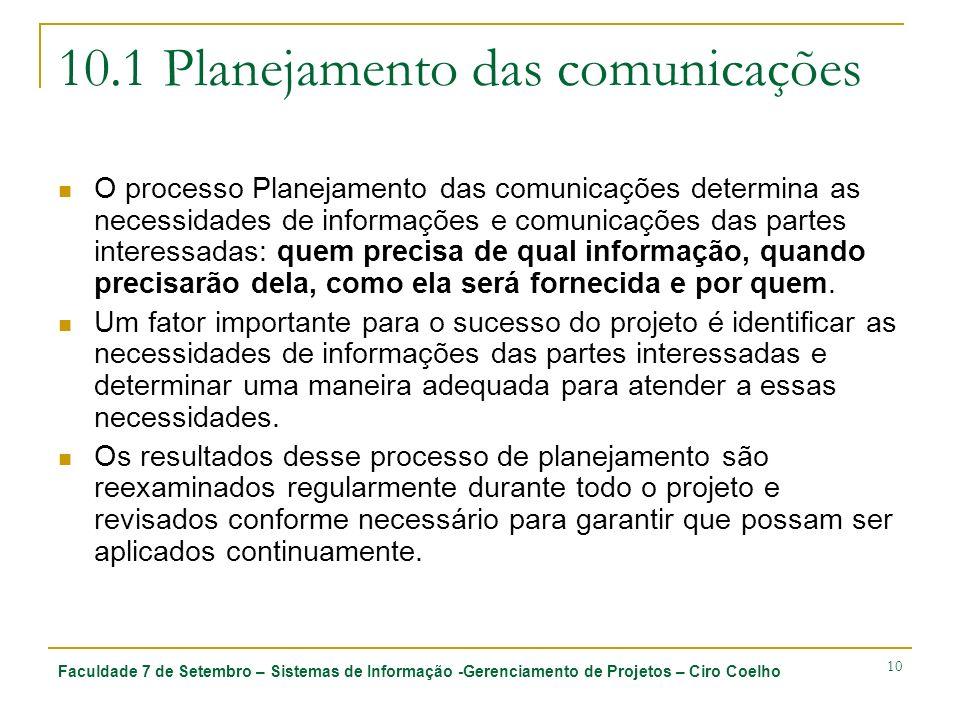 Faculdade 7 de Setembro – Sistemas de Informação -Gerenciamento de Projetos – Ciro Coelho 10 10.1 Planejamento das comunicações O processo Planejament