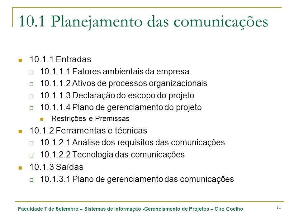 Faculdade 7 de Setembro – Sistemas de Informação -Gerenciamento de Projetos – Ciro Coelho 11 10.1 Planejamento das comunicações 10.1.1 Entradas 10.1.1