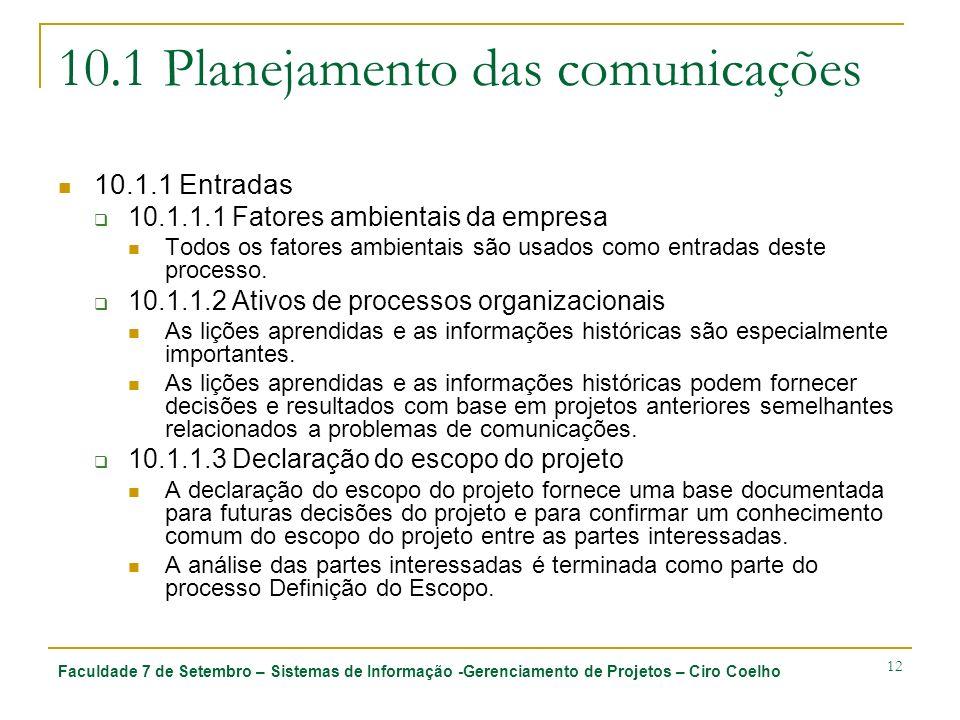 Faculdade 7 de Setembro – Sistemas de Informação -Gerenciamento de Projetos – Ciro Coelho 12 10.1 Planejamento das comunicações 10.1.1 Entradas 10.1.1