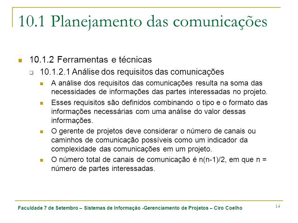 Faculdade 7 de Setembro – Sistemas de Informação -Gerenciamento de Projetos – Ciro Coelho 14 10.1 Planejamento das comunicações 10.1.2 Ferramentas e t