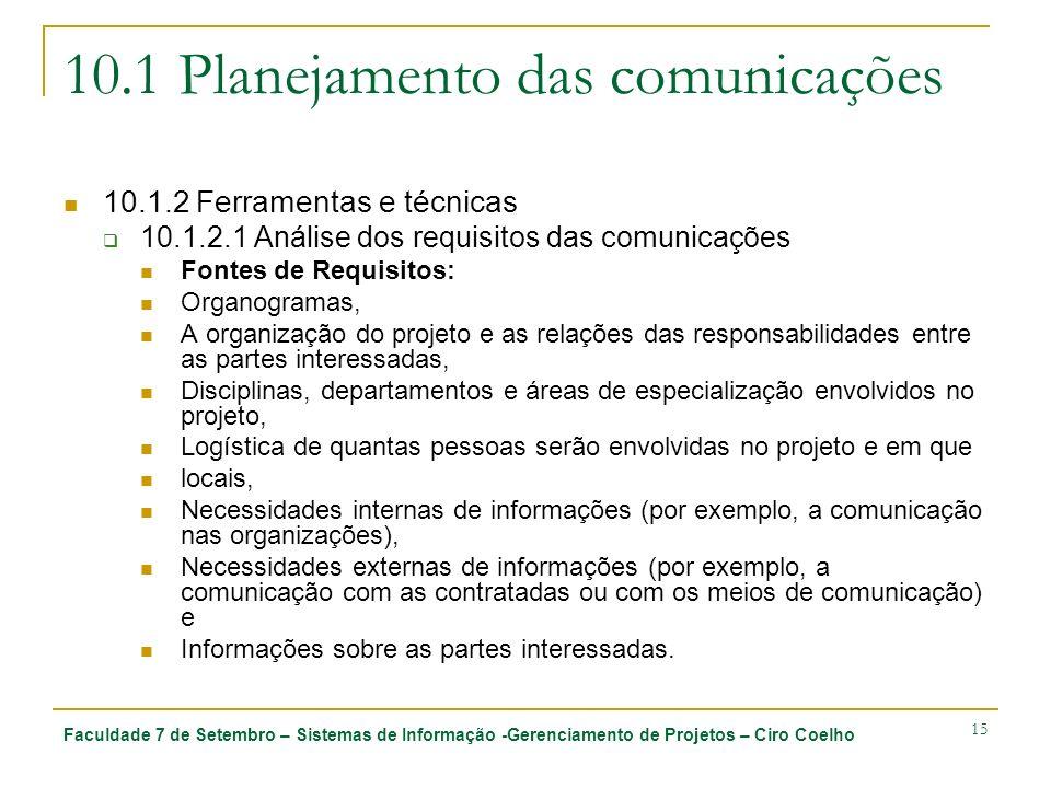 Faculdade 7 de Setembro – Sistemas de Informação -Gerenciamento de Projetos – Ciro Coelho 15 10.1 Planejamento das comunicações 10.1.2 Ferramentas e t