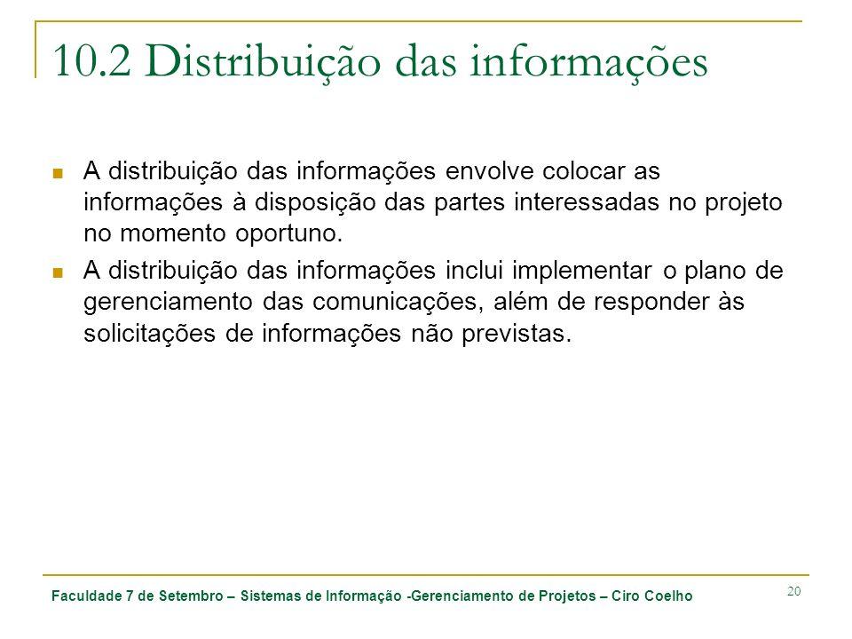 Faculdade 7 de Setembro – Sistemas de Informação -Gerenciamento de Projetos – Ciro Coelho 20 10.2 Distribuição das informações A distribuição das info