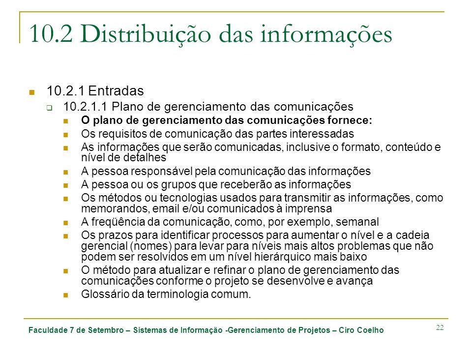Faculdade 7 de Setembro – Sistemas de Informação -Gerenciamento de Projetos – Ciro Coelho 22 10.2 Distribuição das informações 10.2.1 Entradas 10.2.1.