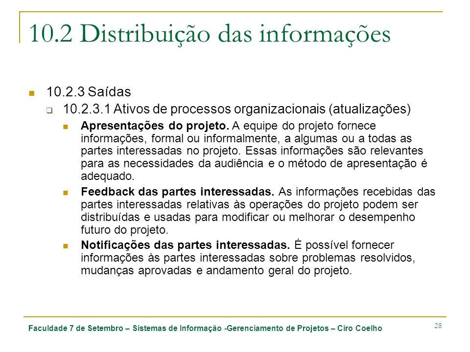 Faculdade 7 de Setembro – Sistemas de Informação -Gerenciamento de Projetos – Ciro Coelho 28 10.2 Distribuição das informações 10.2.3 Saídas 10.2.3.1