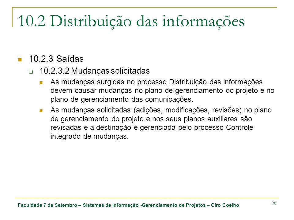 Faculdade 7 de Setembro – Sistemas de Informação -Gerenciamento de Projetos – Ciro Coelho 29 10.2 Distribuição das informações 10.2.3 Saídas 10.2.3.2