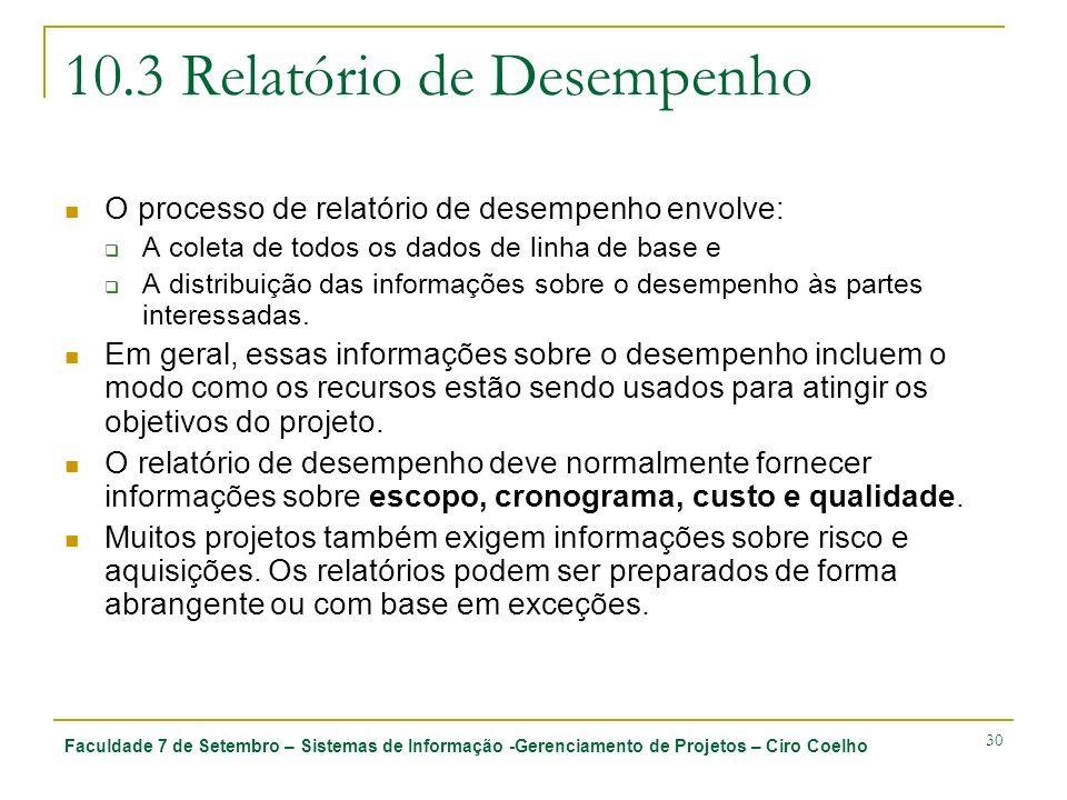 Faculdade 7 de Setembro – Sistemas de Informação -Gerenciamento de Projetos – Ciro Coelho 30 10.3 Relatório de Desempenho O processo de relatório de d