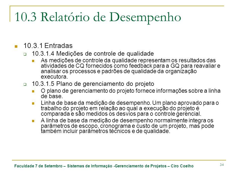 Faculdade 7 de Setembro – Sistemas de Informação -Gerenciamento de Projetos – Ciro Coelho 34 10.3 Relatório de Desempenho 10.3.1 Entradas 10.3.1.4 Med