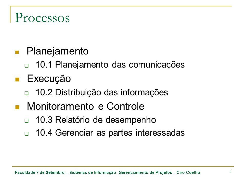 Faculdade 7 de Setembro – Sistemas de Informação -Gerenciamento de Projetos – Ciro Coelho 5 Processos Planejamento 10.1 Planejamento das comunicações