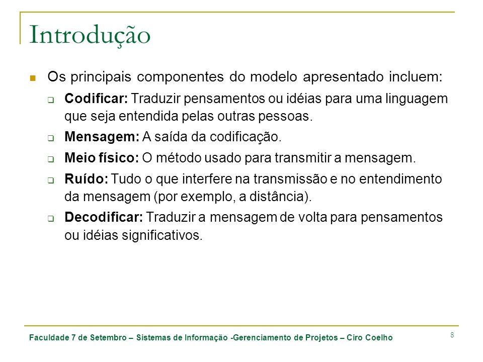 Faculdade 7 de Setembro – Sistemas de Informação -Gerenciamento de Projetos – Ciro Coelho 8 Introdução Os principais componentes do modelo apresentado