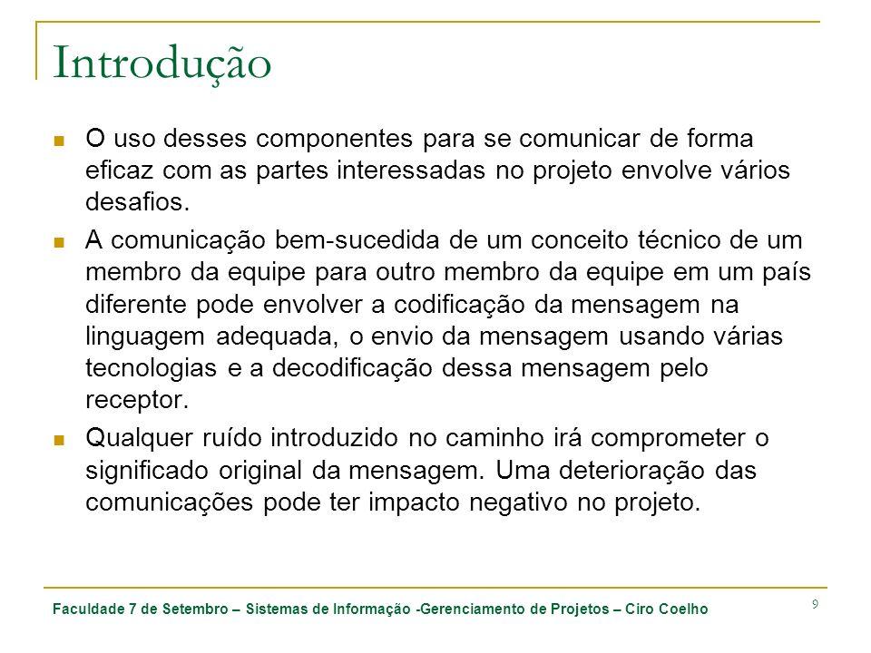 Faculdade 7 de Setembro – Sistemas de Informação -Gerenciamento de Projetos – Ciro Coelho 9 Introdução O uso desses componentes para se comunicar de f