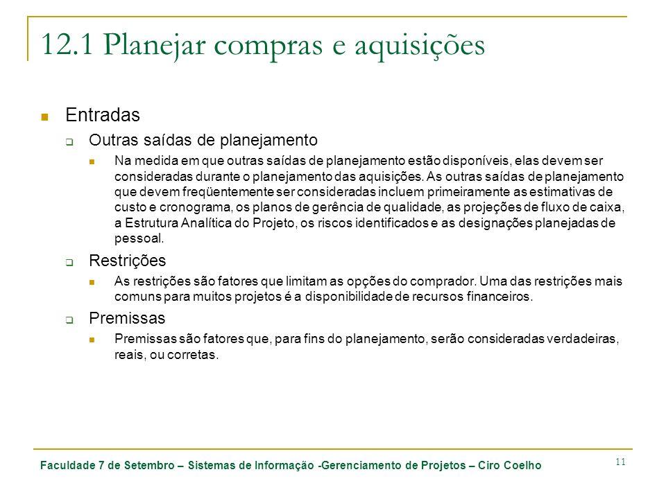 Faculdade 7 de Setembro – Sistemas de Informação -Gerenciamento de Projetos – Ciro Coelho 11 12.1 Planejar compras e aquisições Entradas Outras saídas