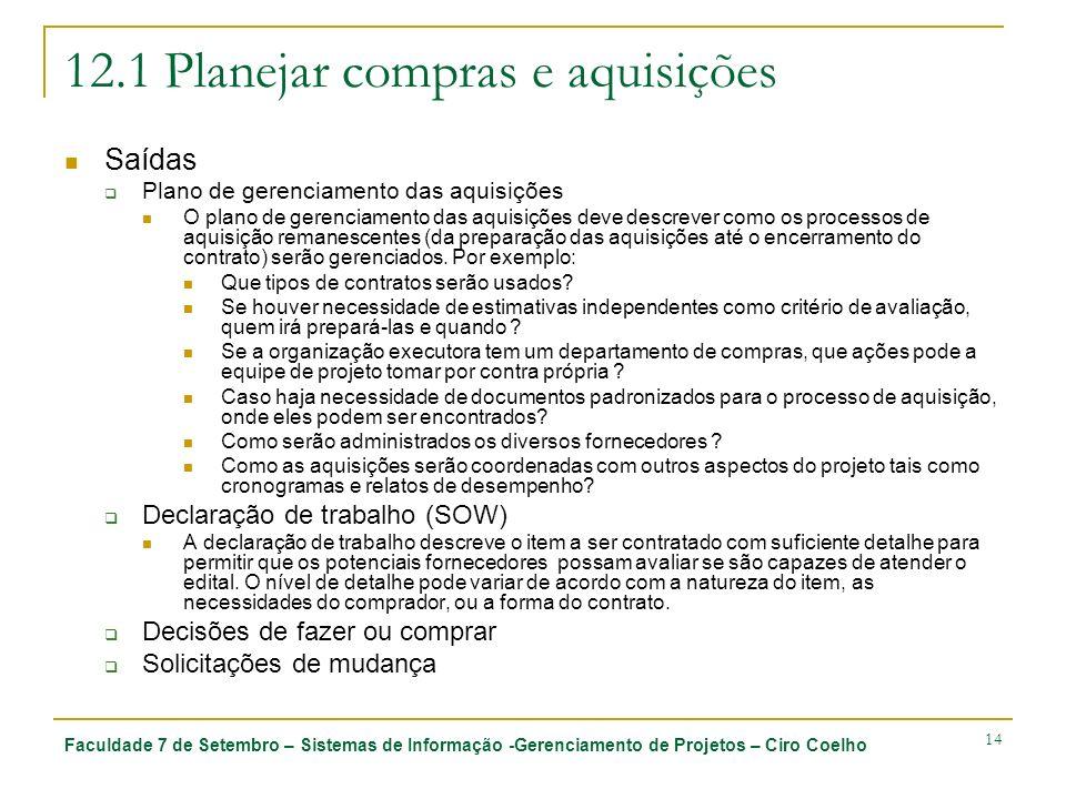 Faculdade 7 de Setembro – Sistemas de Informação -Gerenciamento de Projetos – Ciro Coelho 14 12.1 Planejar compras e aquisições Saídas Plano de gerenc