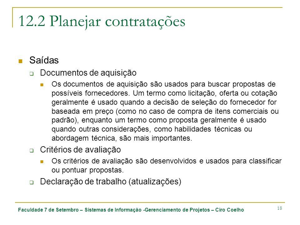 Faculdade 7 de Setembro – Sistemas de Informação -Gerenciamento de Projetos – Ciro Coelho 18 12.2 Planejar contratações Saídas Documentos de aquisição