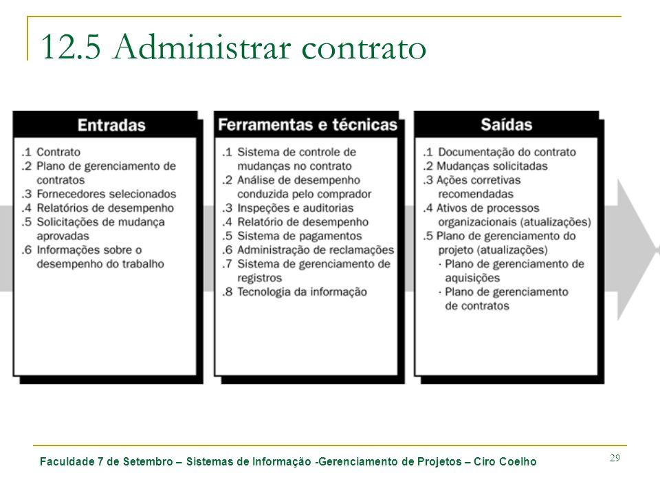 Faculdade 7 de Setembro – Sistemas de Informação -Gerenciamento de Projetos – Ciro Coelho 29 12.5 Administrar contrato