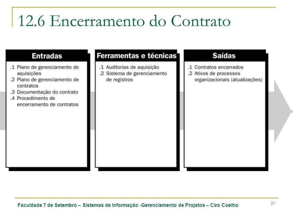 Faculdade 7 de Setembro – Sistemas de Informação -Gerenciamento de Projetos – Ciro Coelho 37 12.6 Encerramento do Contrato
