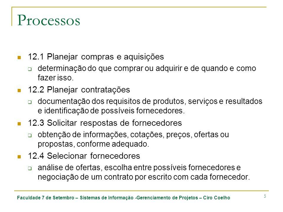 Faculdade 7 de Setembro – Sistemas de Informação -Gerenciamento de Projetos – Ciro Coelho 5 Processos 12.1 Planejar compras e aquisições determinação