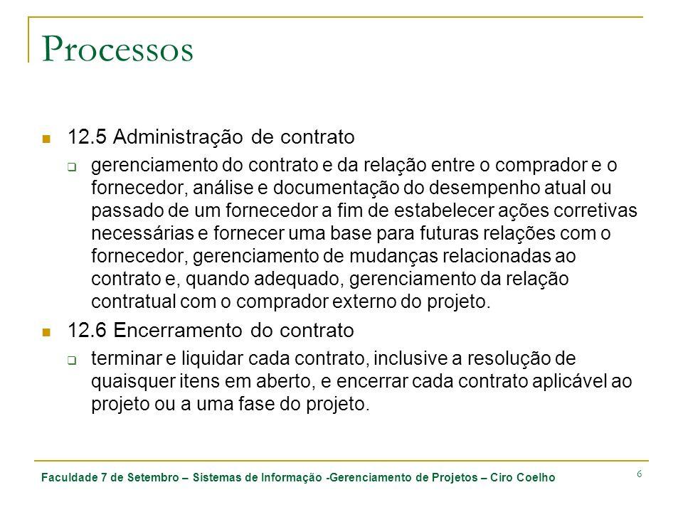 Faculdade 7 de Setembro – Sistemas de Informação -Gerenciamento de Projetos – Ciro Coelho 6 Processos 12.5 Administração de contrato gerenciamento do