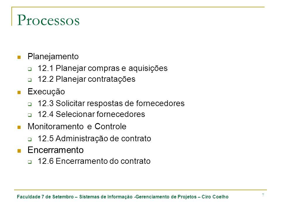 Faculdade 7 de Setembro – Sistemas de Informação -Gerenciamento de Projetos – Ciro Coelho 7 Processos Planejamento 12.1 Planejar compras e aquisições