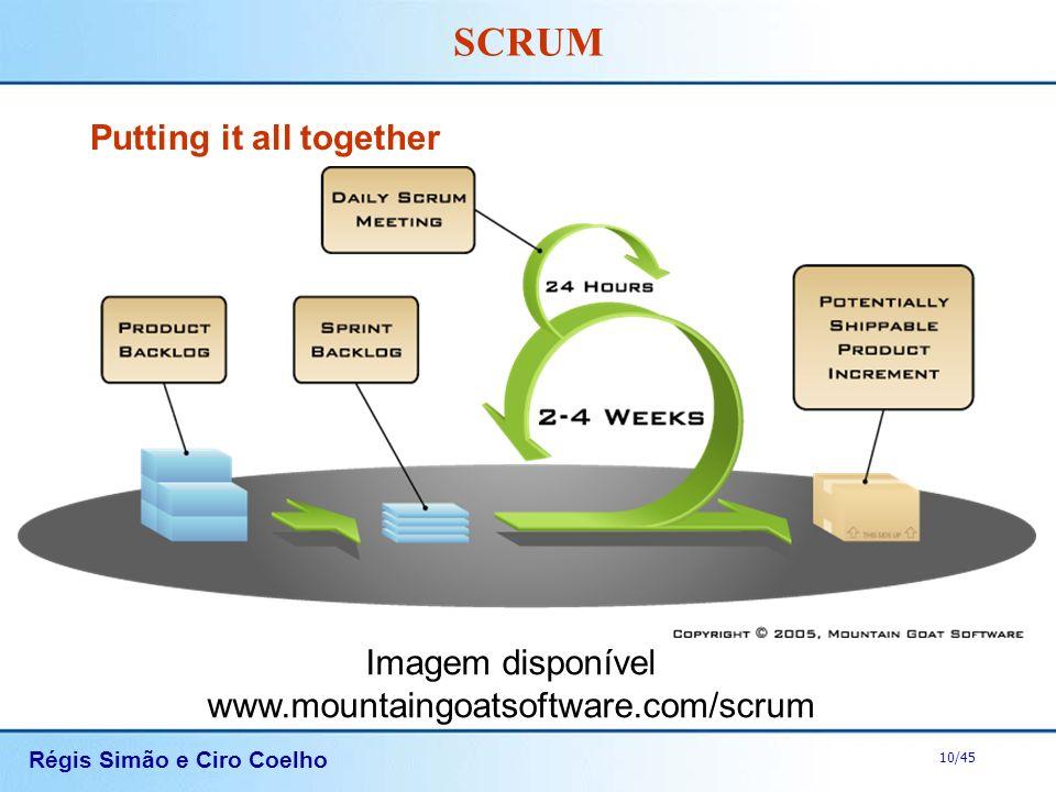 Régis Simão e Ciro Coelho 10/45 SCRUM Putting it all together Imagem disponível www.mountaingoatsoftware.com/scrum