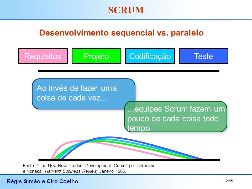 Régis Simão e Ciro Coelho 12/45 SCRUM Desenvolvimento sequencial vs. paralelo Fonte: The New New Product Development Game por Takeuchi e Nonaka. Harva