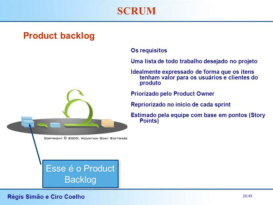 Régis Simão e Ciro Coelho 29/45 SCRUM Product backlog Os requisitos Uma lista de todo trabalho desejado no projeto Idealmente expressado de forma que