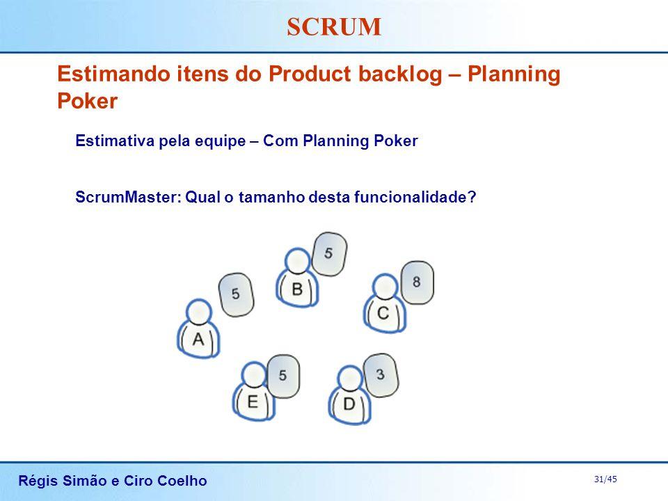 Régis Simão e Ciro Coelho 31/45 SCRUM Estimando itens do Product backlog – Planning Poker Estimativa pela equipe – Com Planning Poker ScrumMaster: Qua