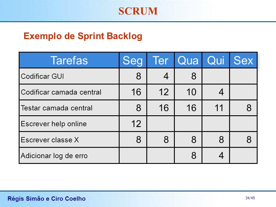 Régis Simão e Ciro Coelho 34/45 SCRUM Exemplo de Sprint Backlog Tarefas Codificar GUI Codificar camada central Testar camada central Escrever help onl