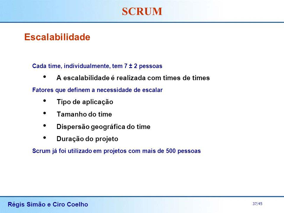 Régis Simão e Ciro Coelho 37/45 SCRUM Escalabilidade Cada time, individualmente, tem 7 ± 2 pessoas A escalabilidade é realizada com times de times Fat