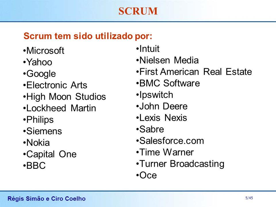 Régis Simão e Ciro Coelho 5/45 SCRUM Scrum tem sido utilizado por: Microsoft Yahoo Google Electronic Arts High Moon Studios Lockheed Martin Philips Si