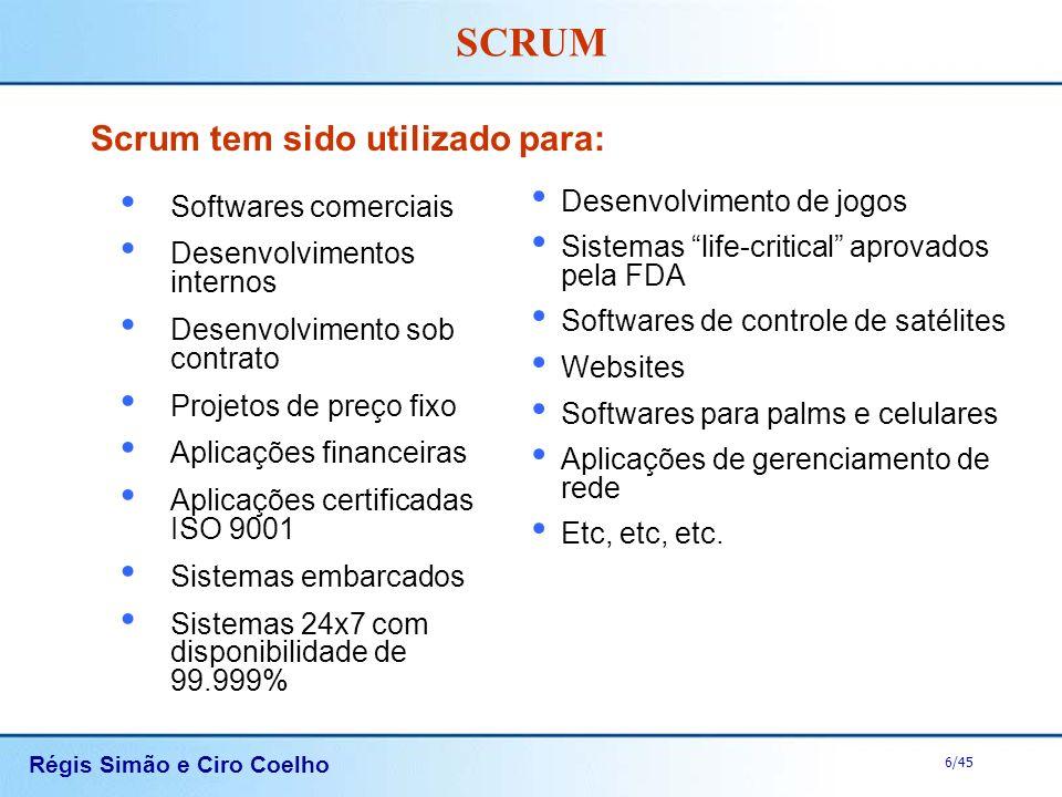 Régis Simão e Ciro Coelho 6/45 SCRUM Scrum tem sido utilizado para: Softwares comerciais Desenvolvimentos internos Desenvolvimento sob contrato Projet