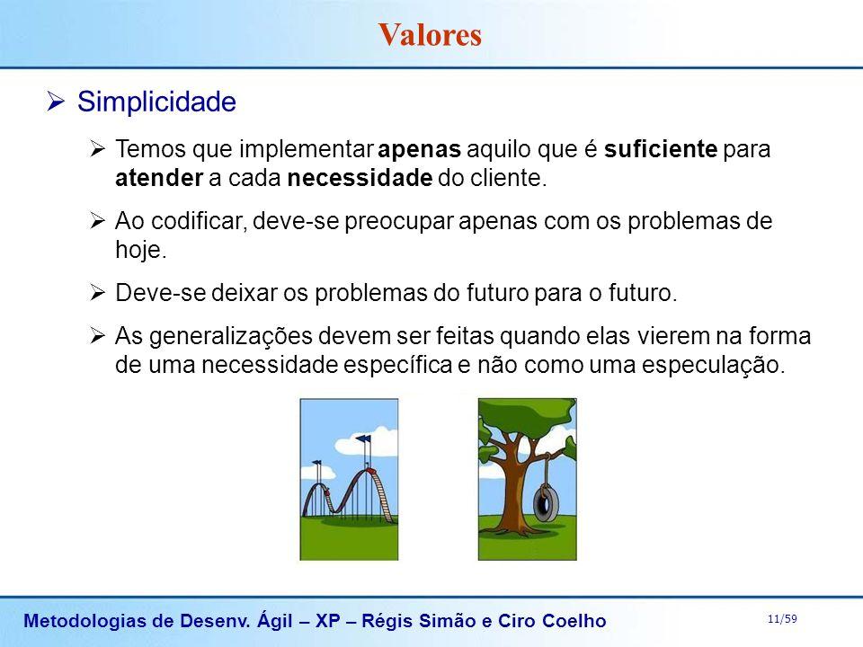 Metodologias de Desenv. Ágil – XP – Régis Simão e Ciro Coelho 11/59 Simplicidade Temos que implementar apenas aquilo que é suficiente para atender a c