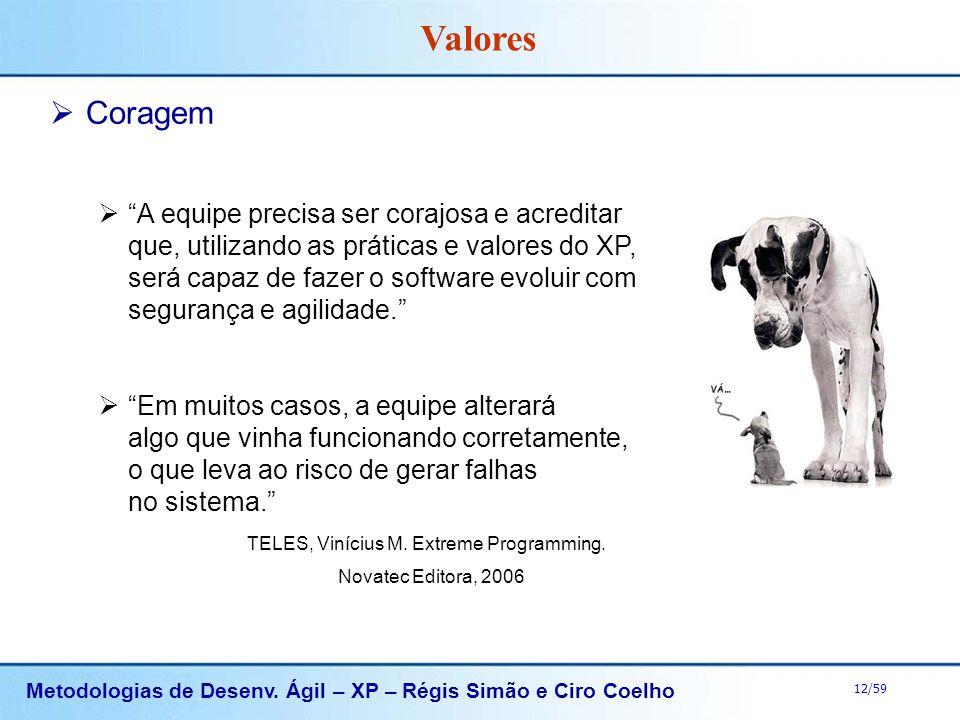 Metodologias de Desenv. Ágil – XP – Régis Simão e Ciro Coelho 12/59 Coragem A equipe precisa ser corajosa e acreditar que, utilizando as práticas e va