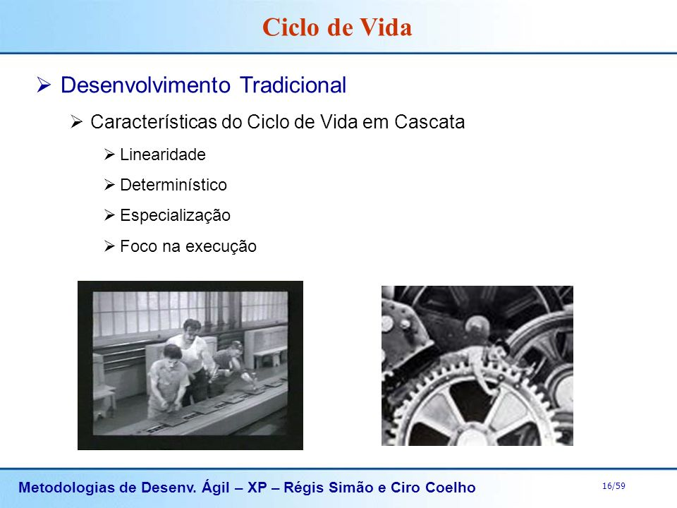 Metodologias de Desenv. Ágil – XP – Régis Simão e Ciro Coelho 16/59 Desenvolvimento Tradicional Características do Ciclo de Vida em Cascata Linearidad