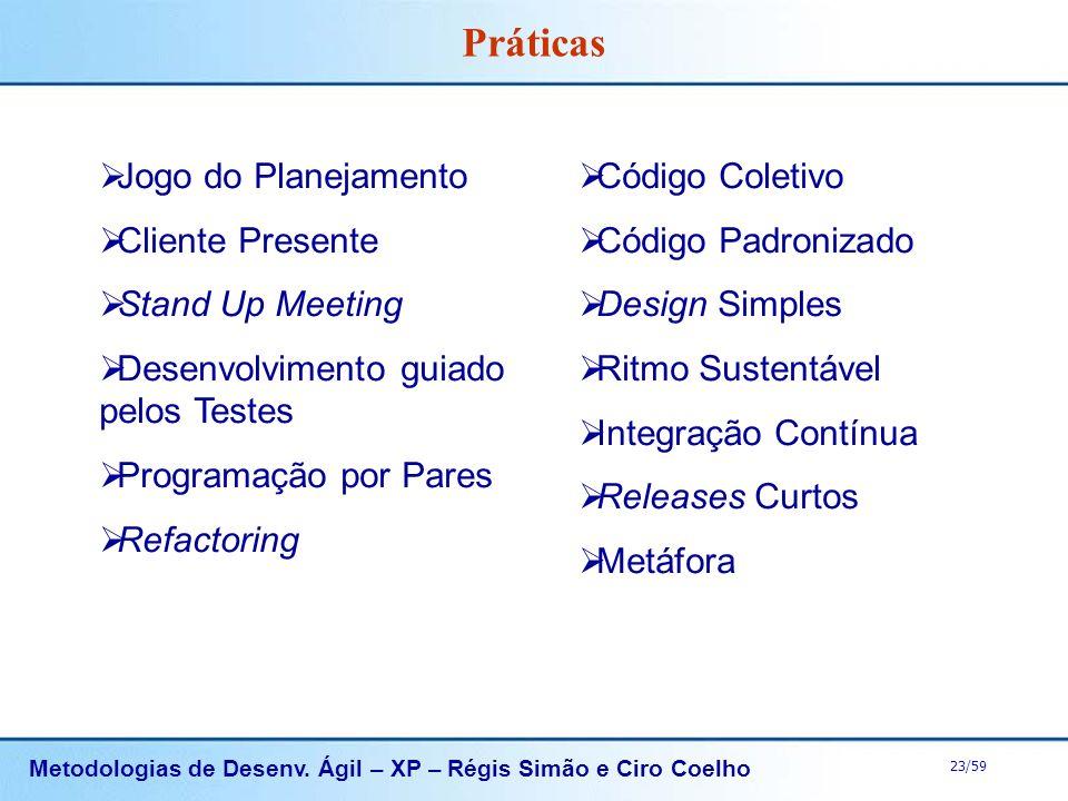 Metodologias de Desenv. Ágil – XP – Régis Simão e Ciro Coelho 23/59 Práticas Jogo do Planejamento Cliente Presente Stand Up Meeting Desenvolvimento gu