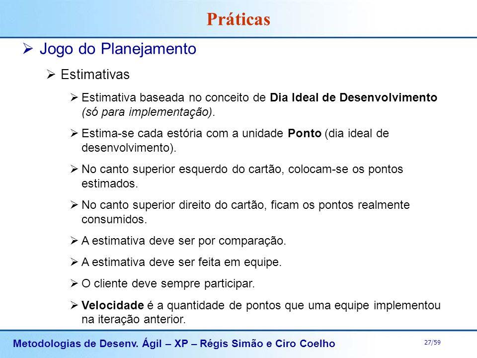Metodologias de Desenv. Ágil – XP – Régis Simão e Ciro Coelho 27/59 Práticas Jogo do Planejamento Estimativas Estimativa baseada no conceito de Dia Id