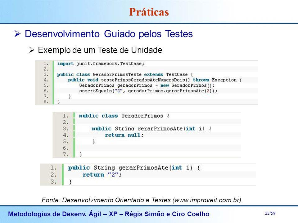 Metodologias de Desenv. Ágil – XP – Régis Simão e Ciro Coelho 33/59 Práticas Desenvolvimento Guiado pelos Testes Exemplo de um Teste de Unidade Fonte: