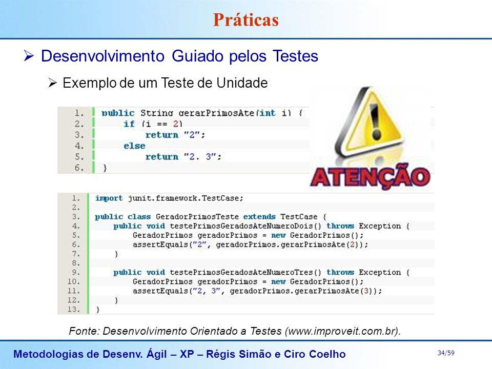 Metodologias de Desenv. Ágil – XP – Régis Simão e Ciro Coelho 34/59 Práticas Desenvolvimento Guiado pelos Testes Exemplo de um Teste de Unidade Fonte: