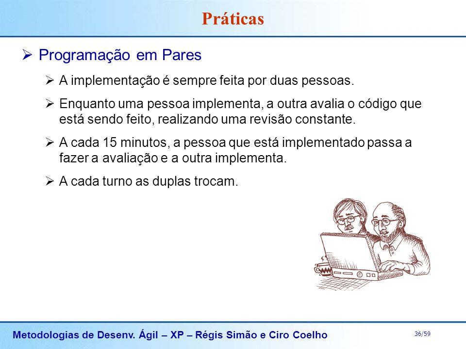 Metodologias de Desenv. Ágil – XP – Régis Simão e Ciro Coelho 36/59 Práticas Programação em Pares A implementação é sempre feita por duas pessoas. Enq